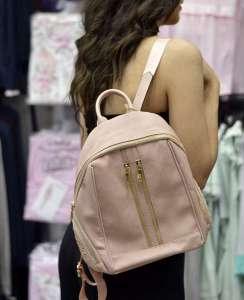 Τσάντα backpack ροζ απαλό με φερμουάρ