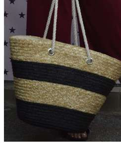 Τσάντα ψάθινο καλάθι με φερμουαρ