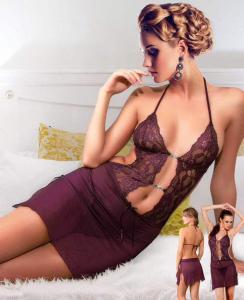 Σέξι φόρεμα μωβ με στρας  MIORRE