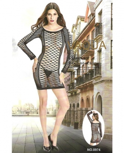Sexy φόρεμα διχτυωτό με μακρύ μανίκι