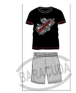 Πυζαμα μοντερνα με μαυρο μπλουζάκι με γράμματα και γκρι κοντό παντελόνι  Barracuda