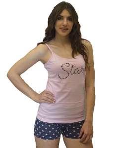 Μπλουζάκι με λεπτή τιράντα με σχέδιο STAR και κοντό σορτσάκι με αστεράκια