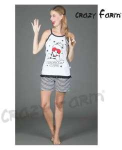 Πυτζάμα με λεπτή ράντα και κοντό παντελόνι Stropiccia Cuori Crazy Farm