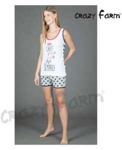 Μπλουζάκι με σχέδιο Un CAFFE και πουά σορτσάκι AMELIE