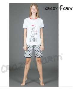 Μπλουζάκι με κοντό μανίκι και σχέδιο Un CAFFE και βερμούδα πουά AMELIE