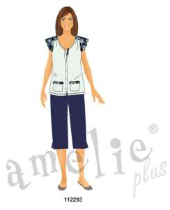 Πυτζάμα με κουμπιά και κάπρι παντελόνι AMELIE