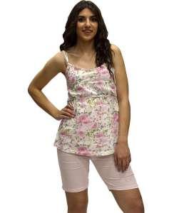 Σετ πυτζαμάκι με μπλουζάκι floral και βερμούδα εγκυμοσύνης AMELIE