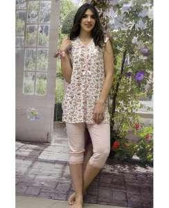 Πυτζάμα μπλούζα Floral και παντελόνι κάπρι μονόχρωμο AMELIE