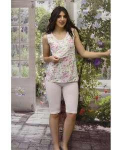 Πυτζάμα εγκυμοσύνης μπλούζα floral και κάπρι παντελόνι