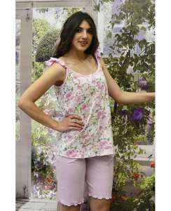 Μπλούζα floral με λεπτό τιραντάκι και χαμηλή πατιλέτα και βερμούδα μονόχρωμη AMELIE