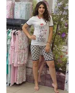Πυτζάμα με πουα βερμούδα και κοντομάνικο μπλουζάκι με σχέδιο μπροστά και ρίγες στη πλάτη  Crazy Farm