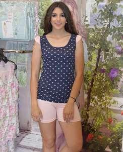 Πυτζάμα με βερμουδα σομων και μπλουζάκι με φρου -φρου μανίκι και μπλε σομων αστεράκια  AMELIE