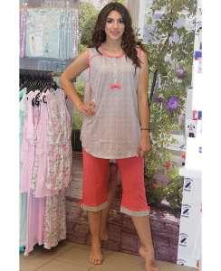 Πυτζάμα με καπρι πολυ μικρό πουα και αμάνικη πορτοκαλί μπλούζα με κουμπιά  AMELIE