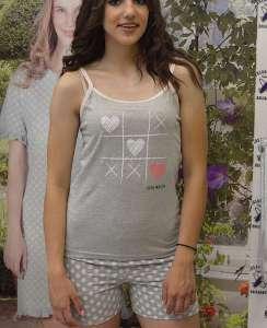 Πυτζάμα με κοντό σορτσάκι πουα γκρι και γκρι μπλουζάκι με σχεδιο τρυλιζα  AMELIE