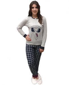 Πυτζάμα μπλούζα με σχέδιο Cold Winter και καρώ παντελόνι