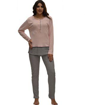 Πυτζάμα ροζ μπλούζα με σχέδιο στο τελειώμα και παντελόνι με σχέδιο