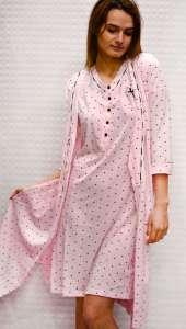 Σετ ρόμπα και Νυχτικο με κοντό μανίκι ροζ πουα  AMELIE