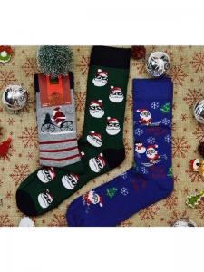 Κάλτσες ανδρικές 3 ζεύγη χριστουγενιάτικα σχέδια Νο 2