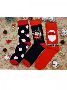 Κάλτσες ανδρικές 3 ζεύγη χριστουγενιάτικα σχέδια Νο12
