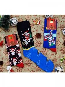 Κάλτσες ανδρικές 3 ζεύγη χριστουγενιάτικα σχέδια Νο4