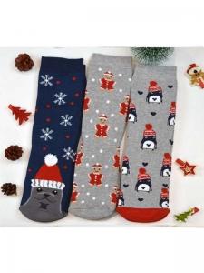 Κάλτσες παιδικές 3 ζεύγη χριστουγενιάτικα σχέδια