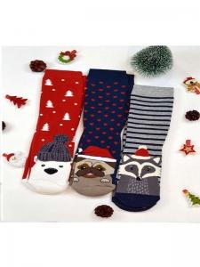 Κάλτσες παιδικές 3 ζεύγη χριστουγενιάτικα σχέδια Νο2