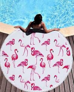 Πετσέτα στρογγυλή Flamingo θαλασσης