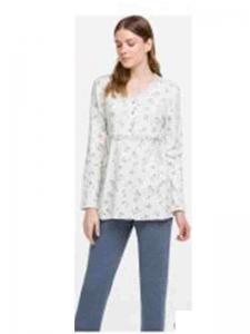 Πυζαμακι Γυναικείο με μονόχρωμο παντελόνι και φλοραλ μπλουζάκι  ΓΙΩΤΑ