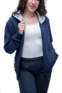 Ζακέτα φόρμας μπλε με κουκούλα