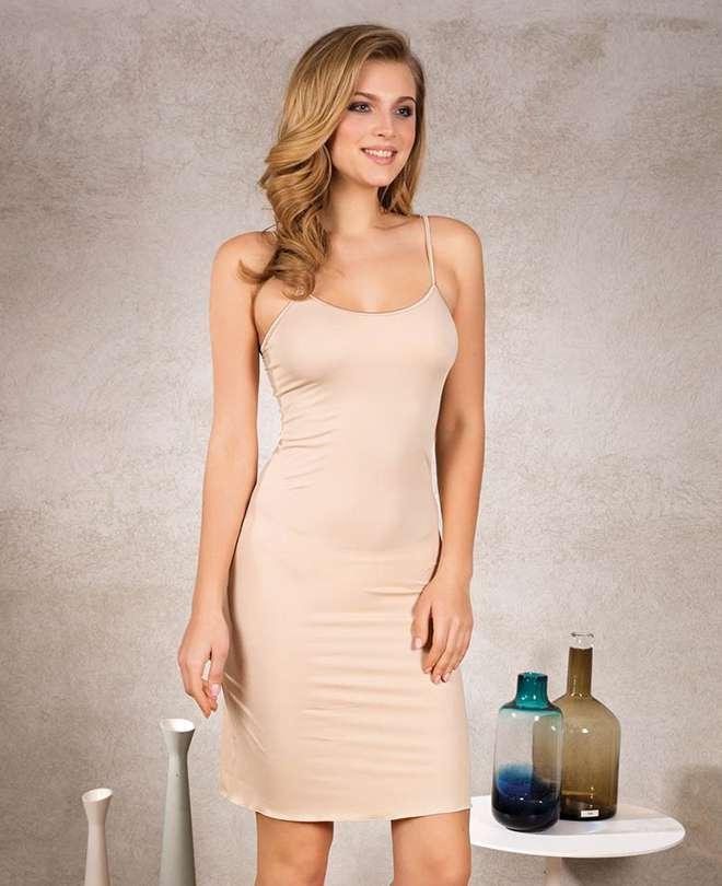 Φορεματάκι κομπινεζόν με λεπτό τιραντάκι 17370 ΜΠΕΖ L 6903a221d58