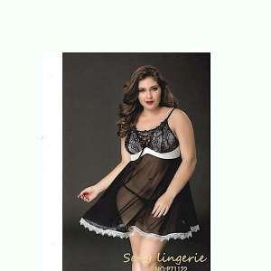 Σέξι φόρεμα δαντέλα με τούλι φαρδιά γραμμή plus Size