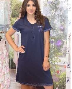 Φόρεμα παραλίας η σπιτιού μπλε με κοντό μανικι ΓΙΩΤΑ