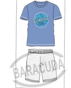 Πυζαμα ανδρική με σιελ μπλουζάκι και γκρι παντελόνι  Barracuda