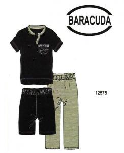 Πυτζάμα, μπλούζα με κοντό μανίκι, μακρύ παντελόνι γκρι και βερμούδα μπλέ Barracuda