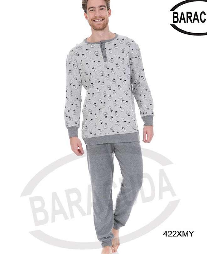 Πυζαμα νεανική με σχέδιο λάμπα στη μπλούζα και μονόχρωμο παντελόνι γκρι