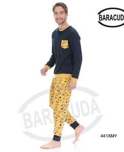 Πυζαμα μοντερνα με κίτρινο παντελόνι με σχέδια και μπλε μπλούζα με τσεπακι