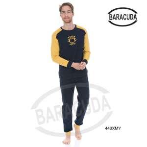 Πυζαμα μοντερνα με κίτρινο Χρωμα στη μπλούζα  Barracuda