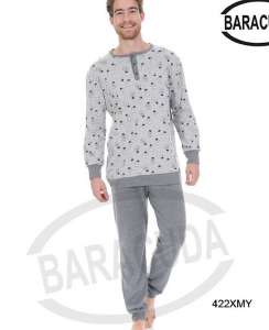 Πυζαμα νεανική με σχέδιο λάμπα στη μπλούζα και μονόχρωμο παντελόνι γκρι Barracuda