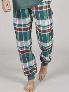 Παντελόνι ανδρικό καρό λάστιχο πράσινο