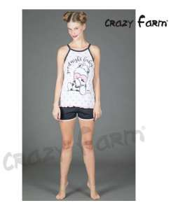 Πυτζάμα Γυναικεία Με Λεπτή Ράντα  Κοντό Παντελόνι Goodnight Crazy Farm