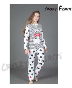 Καλοκαιρινή λεπτή με σχέδιο αγελαδίτσα μακρύ παντελόνι με καρδούλες Crazy Farm