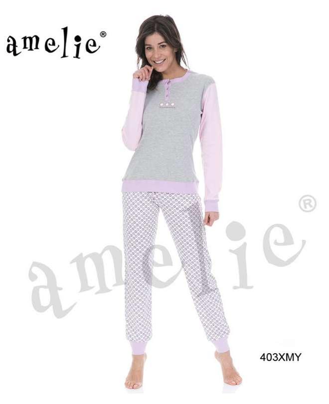 Πυτζάμα γυναικεία με μονόχρωμη μπλούζα και παντελόνι με σχέδιο