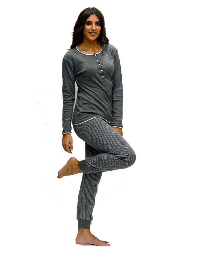 Πυτζάμα ανθρακί μπλούζα με πουά παντελόνι