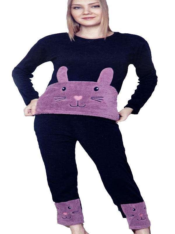 Πυτζάμα γυναικεία fleece λαγουδάκι