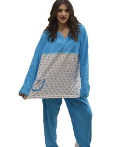Πυτζάμα μπλούζα με λουλουδάκια και μονόχρωμο παντελόνι