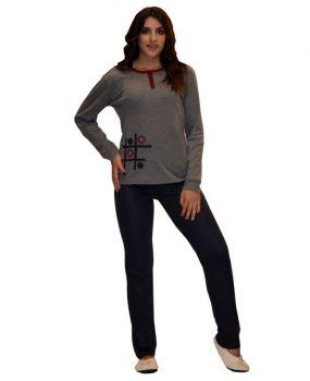 Πυτζάμα μπλούζα ανθρακί με σχέδιο τρίλιζα και μπλέ παντελόνι
