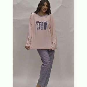 Πυτζάμα γυναικεία μπαλαρίνες ροζ plus size