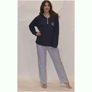 Πυτζάμα γυναικεία μπλε με ριγέ παντελόνι έως και 3XL