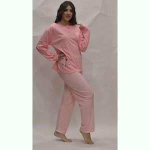 Πυτζάμα γυναικεία ροζ με πιτσιλιές Plus Size