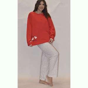 Πυτζάμα γυναικεία κόκκινη με πιτσιλιές έως 3XL